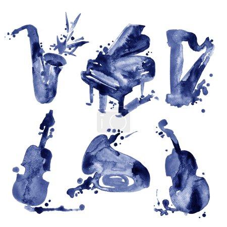 Photo pour Ensemble d'instruments de musique aquarelles dans un style croquis. - image libre de droit