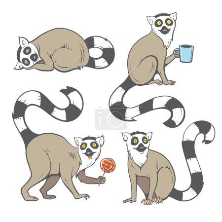 Cartoon lemurs set