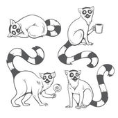 Cartoon lemurs set