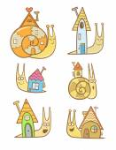 Cute cartoon snails and their houses set Sweet home Children's illustration  Vector image