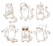 Cartoon cats set Funny kittens in various poses Vector image Children's illustration Contour image Transparent background