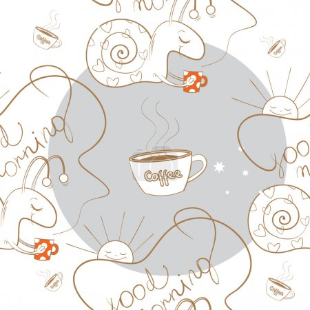 Illustration for Seamless pattern with the snail bearing coffee, the sun and coffee mugs. - Royalty Free Image