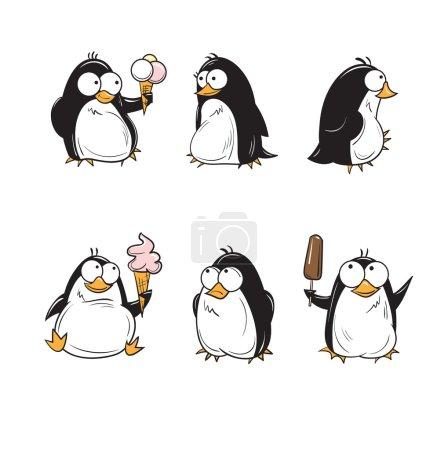 Photo pour Set avec pingouins dessin animé mignon avec crème glacée . - image libre de droit