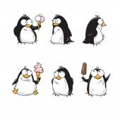 Set with cute cartoon penguins with ice cream