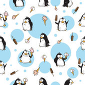 Winter seamless pattern with cute cartoon penguins and ice cream on a white background