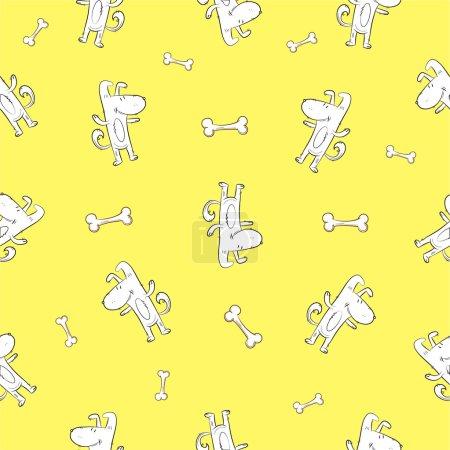 Photo pour Modèle sans couture avec des chiens de dessin animé mignons et des os sur un fond jaune . - image libre de droit