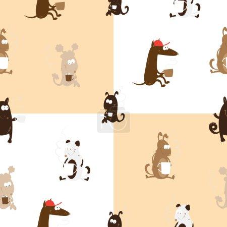 Photo pour Modèle sans couture avec des chiens ayant café sur fond damier . - image libre de droit