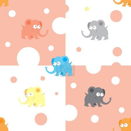 Photo pour Modèle sans couture avec des éléphants de dessin animé mignons et des coeurs sur fond damier . - image libre de droit
