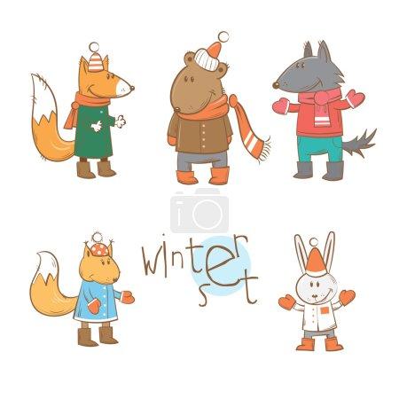 Photo pour Ensemble d'hiver vectoriel avec des animaux de la forêt de dessin animé en vêtements d'hiver . - image libre de droit