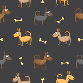 Vector seamless pattern with cute cartoon dogs and bones against a dark background