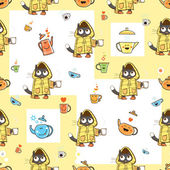 Vector seamless pattern with cartoon cats in pajamas teapots and cups on a yellow background