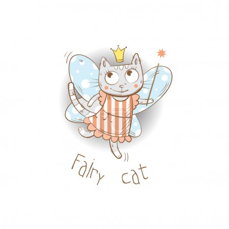 Photo pour Carte pour enfants avec fée de dessin animé chat et baguette magique. Image vectorielle . - image libre de droit