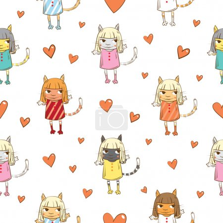 Illustration for Vector seamless pattern with cartoon cats in dresses and hearts on a white  background. - Royalty Free Image