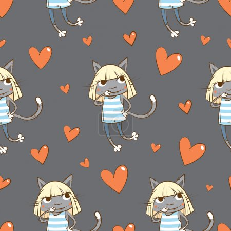 Illustration for Vector seamless pattern with cartoon cats in dresses and hearts on a gray background. - Royalty Free Image
