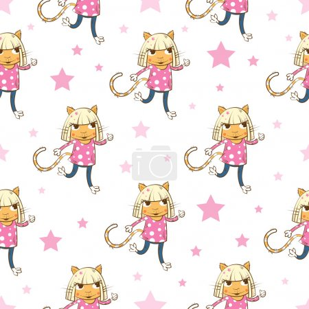 Illustration for Vector seamless pattern with cartoon cats girl and stars on a pink background. - Royalty Free Image