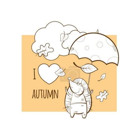 Photo pour Carte d'automne vectorielle avec hérisson de dessin animé et parapluie . - image libre de droit