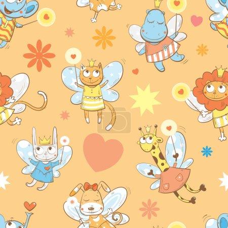 Photo pour Modèle sans couture vectoriel avec éléphants fées, hippopotames, girafes, chiens, chats, lapins et lions sur fond orange . - image libre de droit