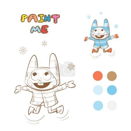 Photo pour Livre de coloriage d'hiver avec lapin dessin animé. Image vectorielle . - image libre de droit