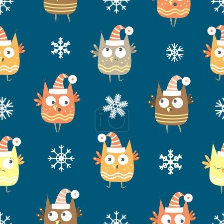 Photo pour Modèle sans couture vectoriel d'hiver avec des hiboux de dessin animé et des flocons de neige sur fond bleu . - image libre de droit