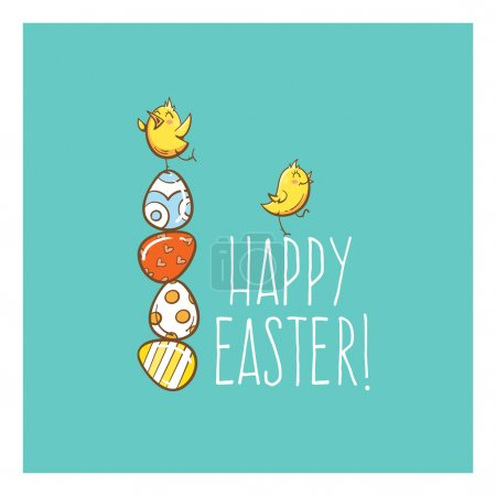 Illustration for Vector easter card with cute cartoon chickens and eggs. - Royalty Free Image
