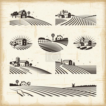 Illustration for A set of retro landscapes in woodcut style. Editable EPS10 vector illustration with clipping mask. - Royalty Free Image