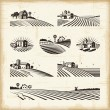 A set of retro landscapes in woodcut style. Editab...