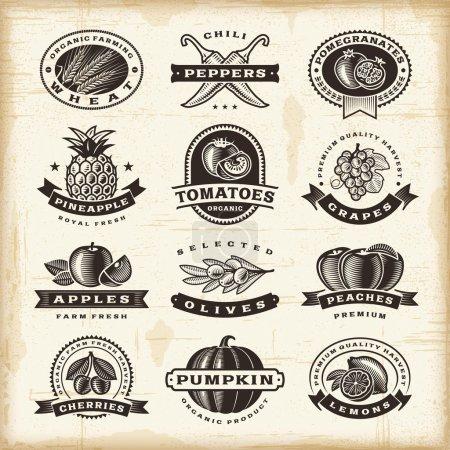 Obst und Gemüse Etiketten Set