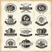 Vintage fruits and vegetables labels set