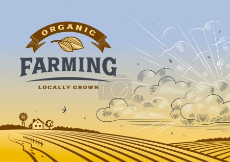 Illustration for Vintage organic farming label with landscape in woodcut style. Editable vector illustration with clipping mask. - Royalty Free Image