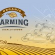 Vintage organic farming label with landscape in wo...