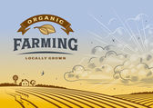 Vintage organic farming label with landscape in woodcut style Editable vector illustration with clipping mask