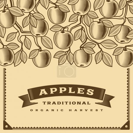 Retro apple harvest card brown