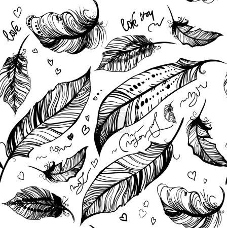 feather decorative black pattern