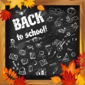 back to school background on dark blackboard witn doodles and au