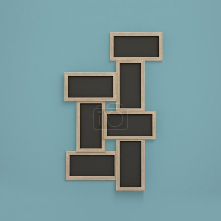 Empty picture frame on a blue background.