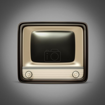 Retro TV / radio on a gray background