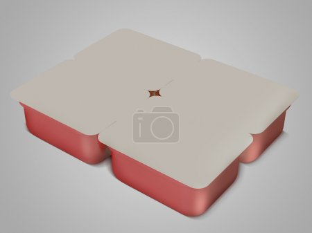White/ red plastic blank bank for food, oil, mayonnaise, margarine, cheese, ice cream, olives, pickles, sour cream. Food and drink plastic blank. Template Ready For Your Design. Isolated on grey. 3D i