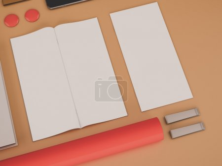 Red branding mockup. Template set on black background. 3d rendering. 3D illustration