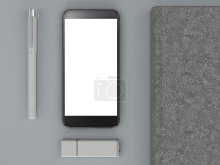 branding mockup. Template set on black background. 3d rendering. 3D illustration