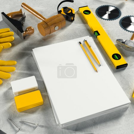 Photo for Mock up business template. Carpenter's workspace. High resolution. - Royalty Free Image