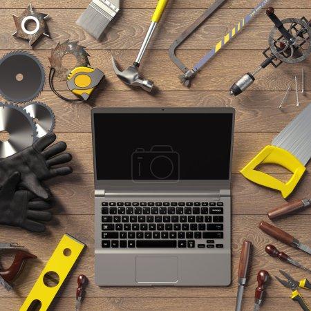Mock up business template. Carpenter's workspace. H