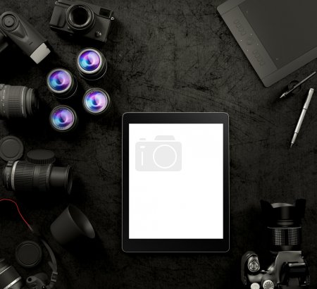 Mock up business template. Photographer set.