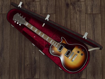 Photo for Guitar on wooden background. High resolution. - Royalty Free Image