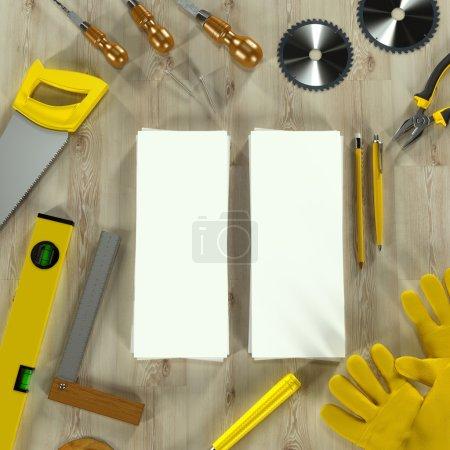 Mockup business template. Carpenter's workspace.