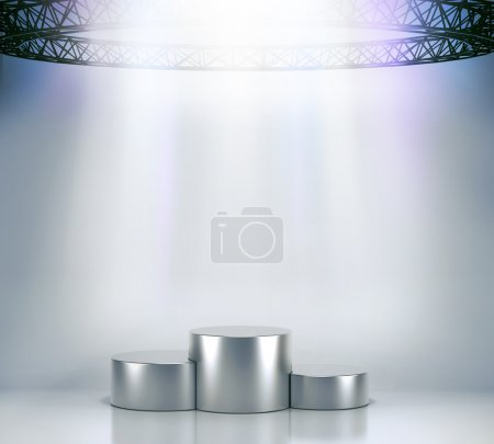 Photo for Illuminated empty stage podium for award ceremony.High resolution 3d render. - Royalty Free Image