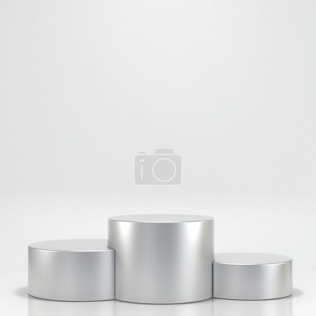 Photo for Illuminated empty stage podium for award ceremony. High resolution 3d render. - Royalty Free Image