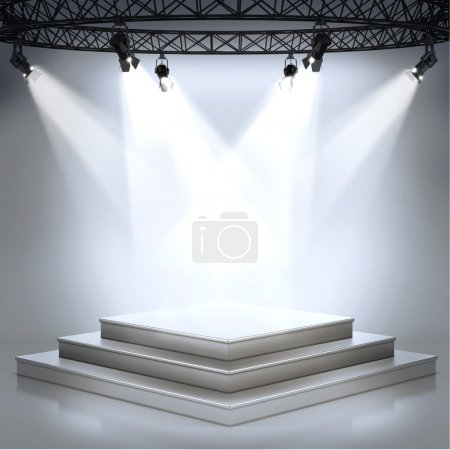 Illuminated empty stage podium for award ceremony