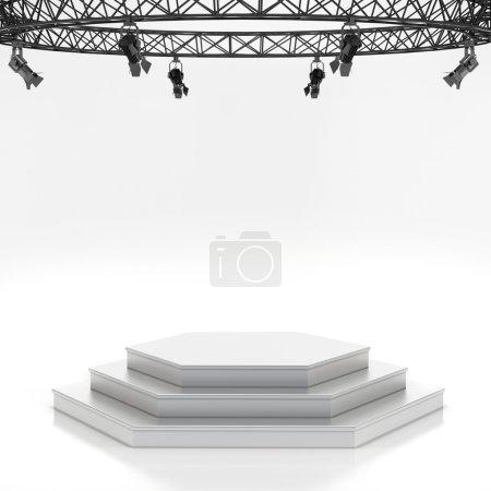 Illuminated empty stage podium for award ceremony