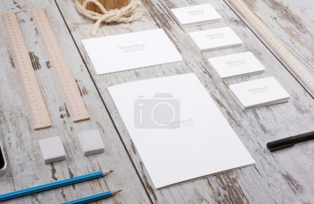 Objects on wood background.