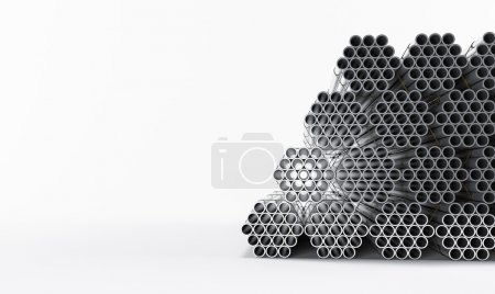 Photo for Stainless steel pipes isolated on white background. High resolution. - Royalty Free Image